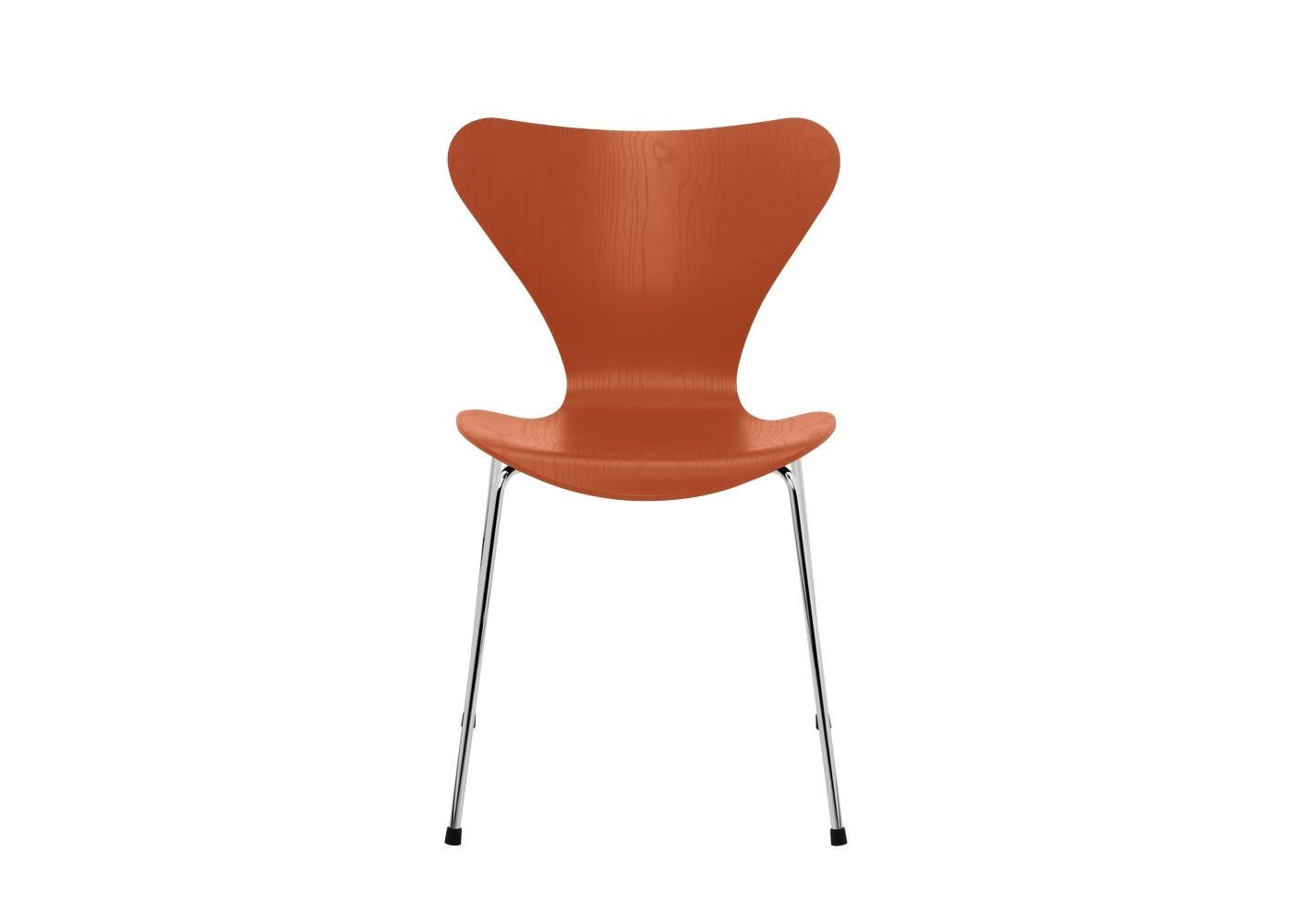 Fritz Hansen Series 7 Chair Coloured Ash Chrome Legs Paradise Orange