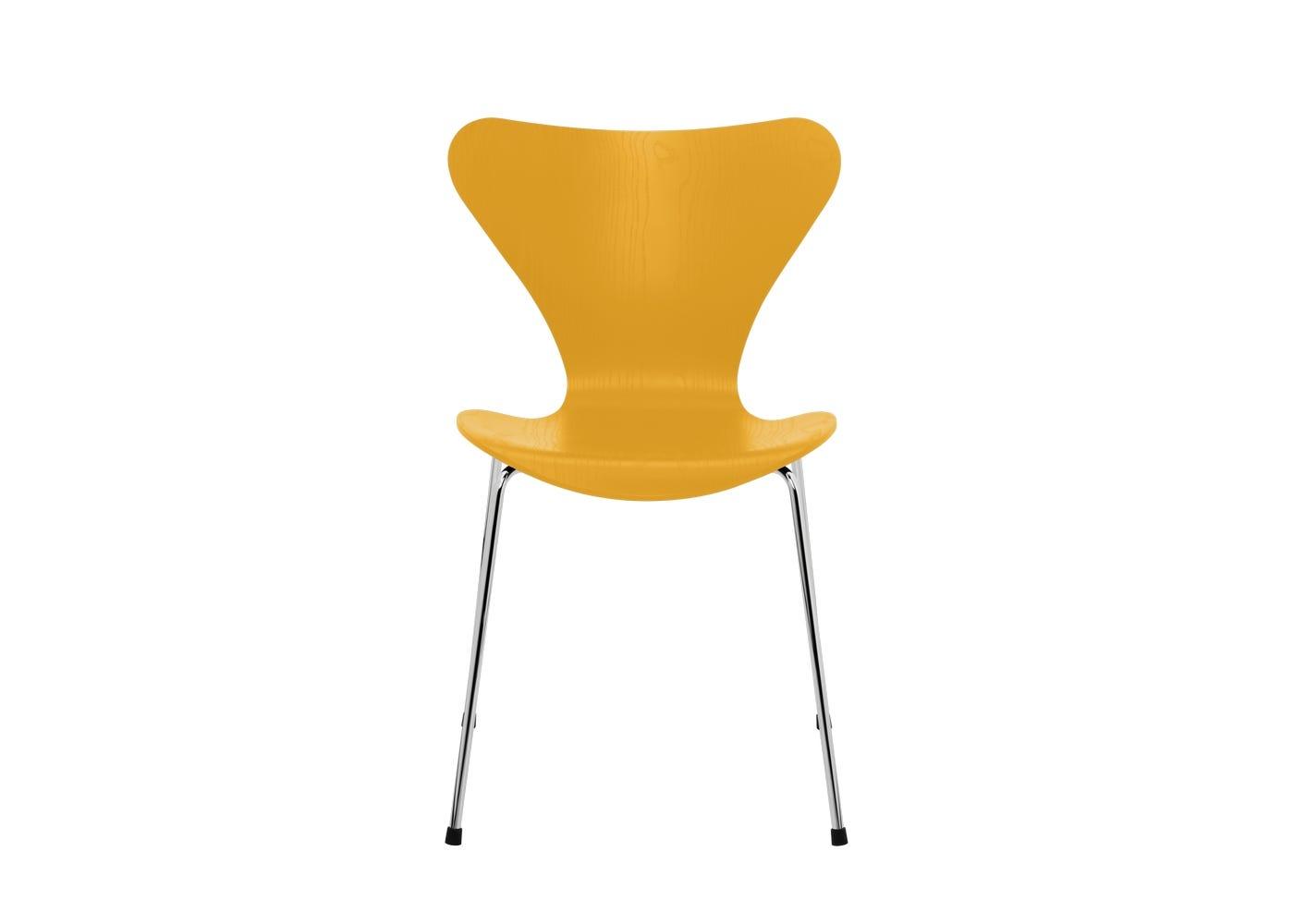 Fritz Hansen Series 7 Chair Coloured Ash Chrome Legs True Yellow