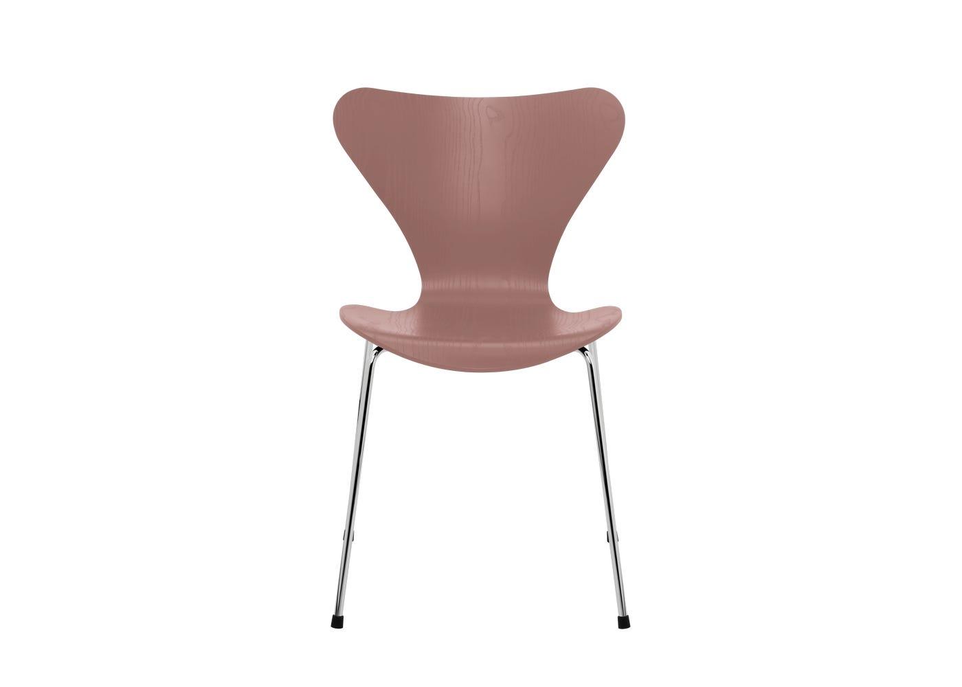 Fritz Hansen Series 7 Chair Coloured Ash Chrome Legs Wild Rose