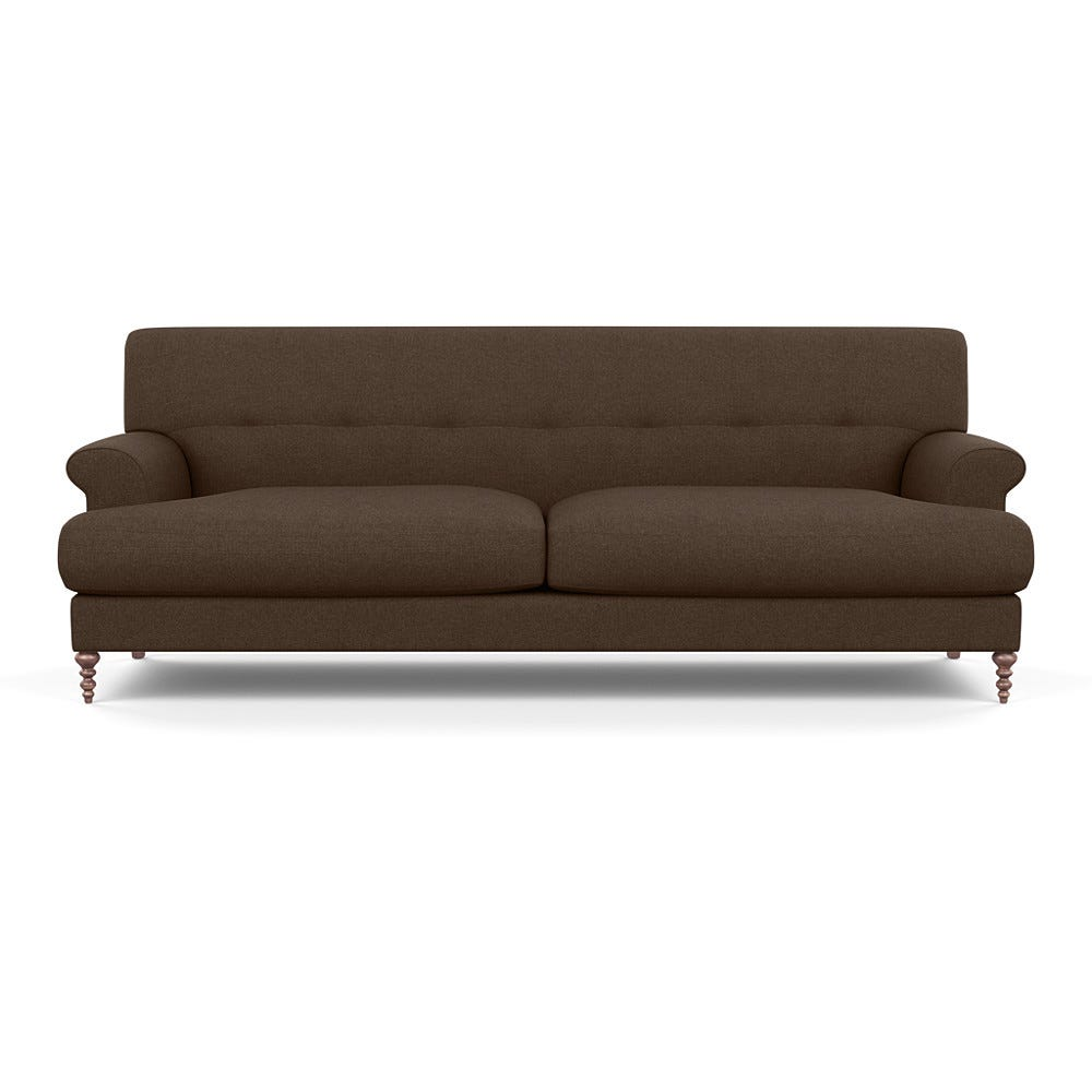 SCP Oscar 3 Seater Formal Sofa Linara Chocolate Walnut Feet