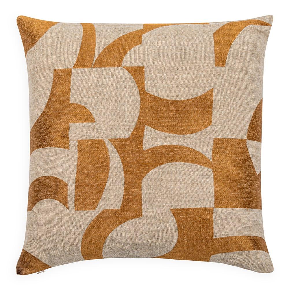 Abstract Cushion Ochre 50cm x 50cm
