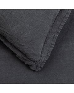 Washed Linen Charcoal Fitted Sheet Double