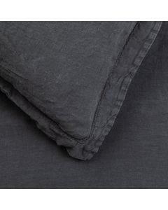 Washed Linen Charcoal Duvet Cover Super King