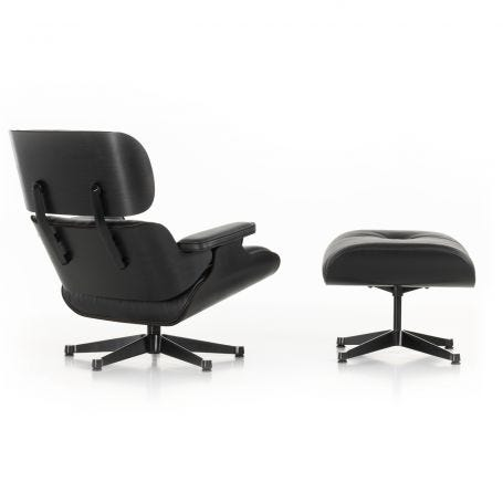 Tall Eames Lounge Chair & Ottoman in Black Ash & Black Leather