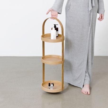 Wood Bathroom Storage Stand Round