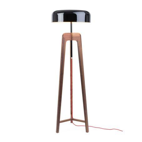 Pileo Alta Floor Lamp Walnut/ shiny black shade