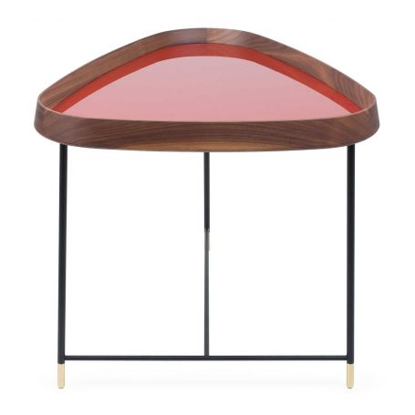 Fritz 3 Triangular Side Table Walnut Granata Red Gloss Lacquer