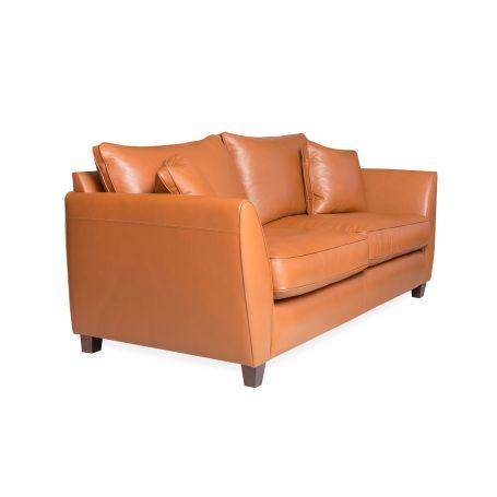 Torino 3 Seater Leather Sofa Leather Cognac Black Feet