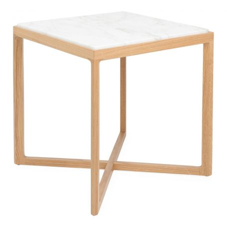 Krusin Side Table Natural Oak Calacatta Marble