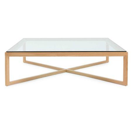 Krusin Coffee Table Natural Oak Clear Glass