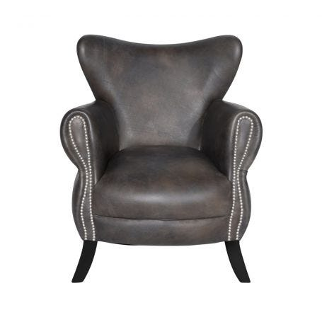 Scholar Chair in Destroyed Black Leather