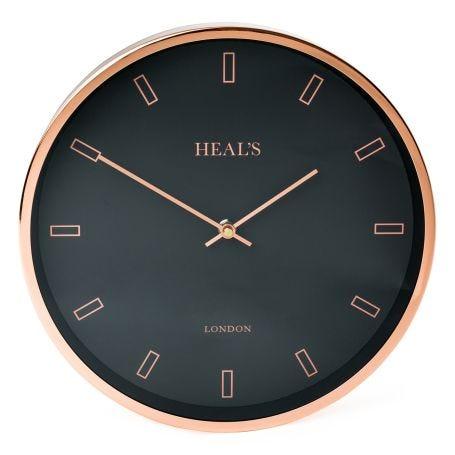 Heal's Clock Black & Copper