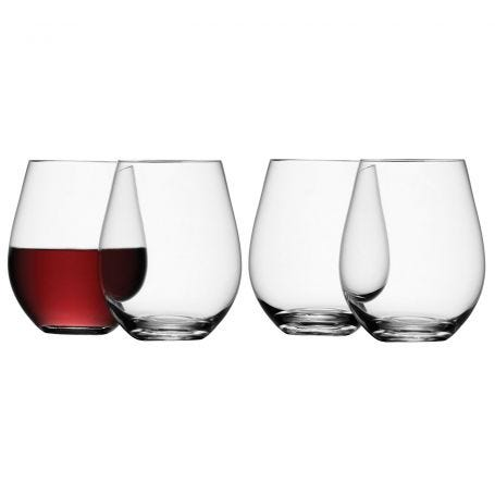 Wine Stemless Red Wine Glass 530ml Clear Set Of 4
