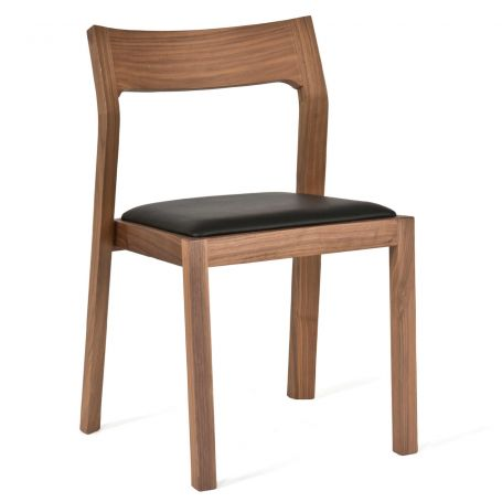 Profile Chair in Walnut with Black Leather