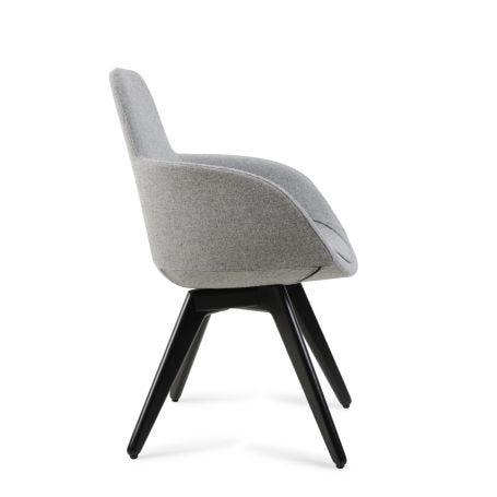 Scoop High Chair Grey Fabric Black Legs
