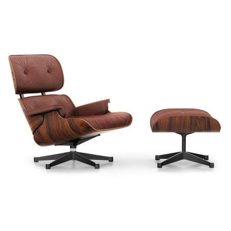 Classic Eames Lounge Chair & Ottoman in Santos Palisander & Brandy Leather