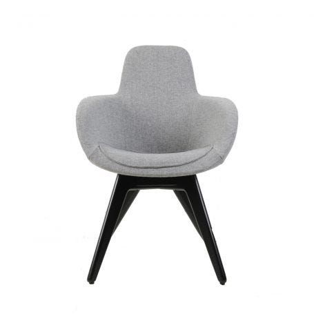 Scoop High Chair in Grey Upholstery and Black Legs - Front View