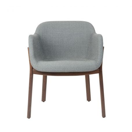 Porto Chair in Walnut with Ocean Upholstery - Front View