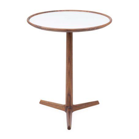 Pausa 61 Side Table Walnut Glass