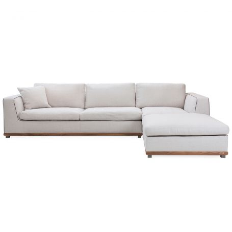 Kirk Left hand Corner Sofa 3 Back Cushions Walnut Frame