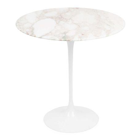 Saarinen Tulip Round Side Table Arabescato Marble Medium