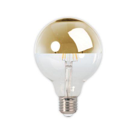 LED Filament Top Mirror Brass Globe Bulb 4W E27