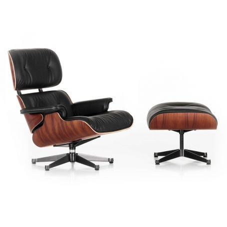 Tall Eames Lounge Chair & Ottoman in Santos Palisander & Black Leather