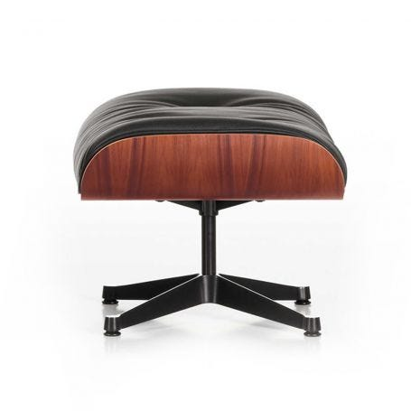 Tall Eames Lounge Ottoman in Santos Palisander & Black Leather