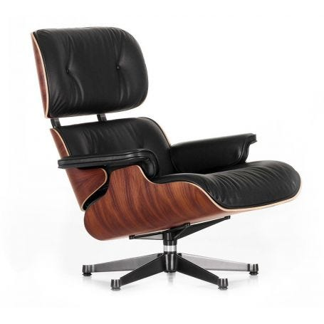 Tall Eames Lounge Chair in Santos Palisander & Black Leather