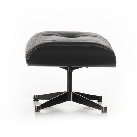Tall Eames Lounge Ottoman in Black Ash & Black Leather