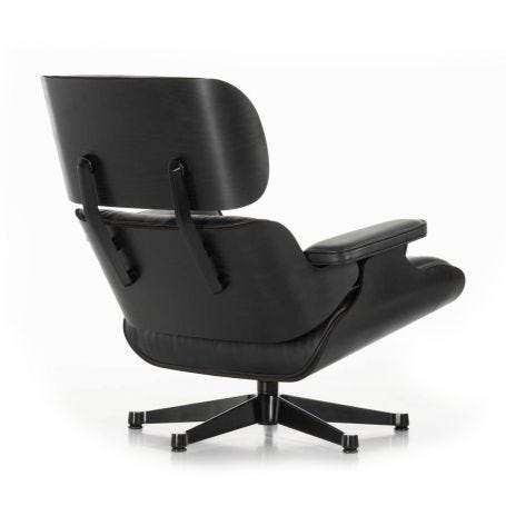 Tall Eames Lounge Chair in Black Ash & Black Leather