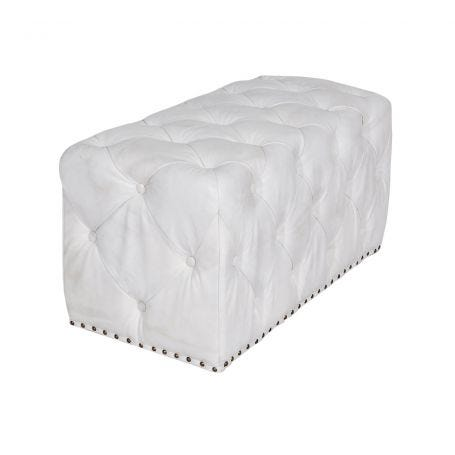 Lord Digsby Footstool Small Vintage Bianco Leather