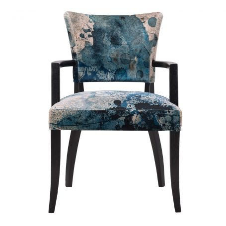 Mimi Wide Arm Dining Chair Melting Paisley Fabric