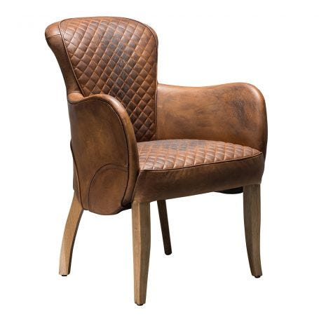 Side Saddle Dining Chair Buckd n Brokn Leather