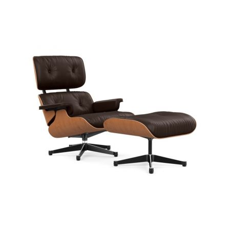Tall Eames Lounge Chair & Ottoman in Cherry Wood & Chocolate Leather
