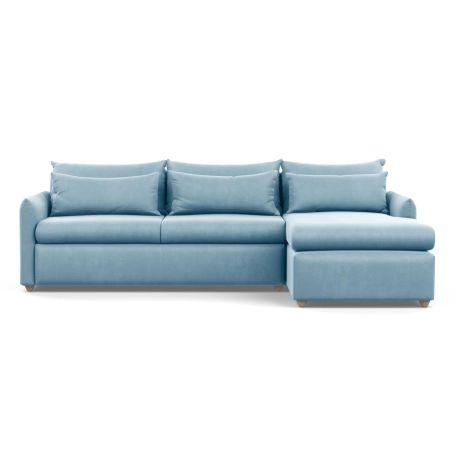 Pillow Large Right Hand Corner Chaise Varese Velvet Sky Natural Feet