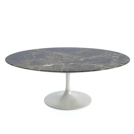 Saarinen Tulip Oval Coffee Table Emperador Coated Marble