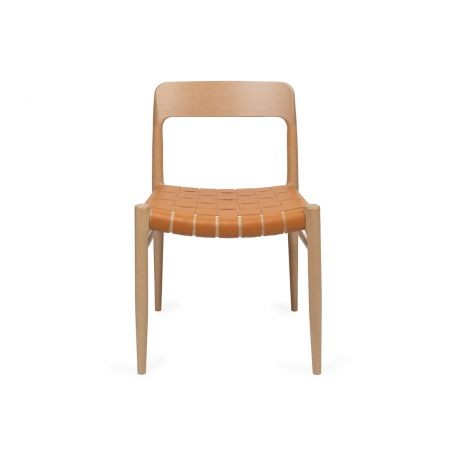 Oliver Chair with Tan Leather Seat - Front View