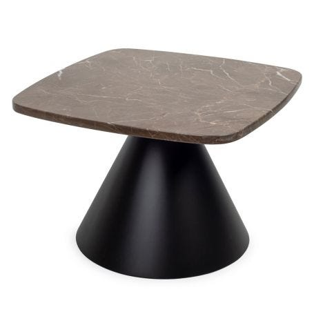 Cezanne Square Side Table Brown Marble Black Frame