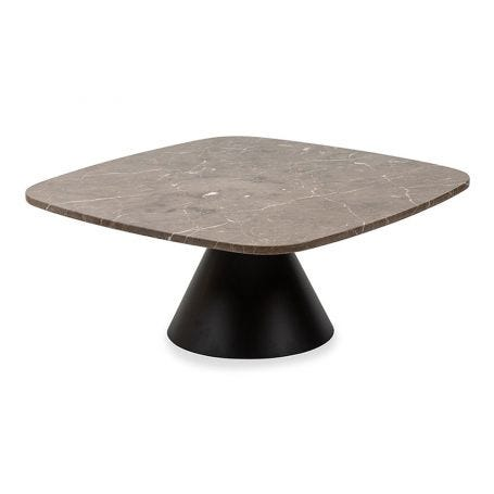 Cezanne Square Coffee Table Brown Marble Black Frame