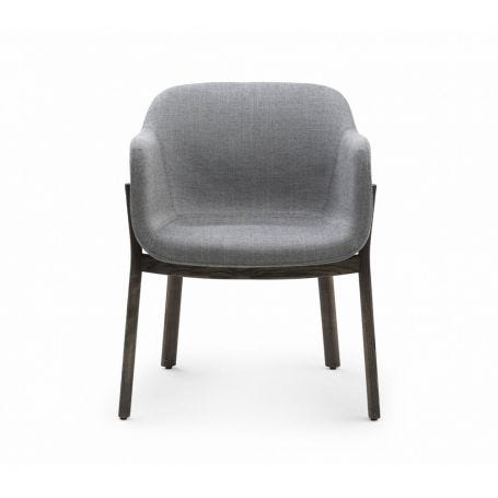 Porto Dining Chair Danish Oiled Ash and Grey Sunniva 2 Upholstery