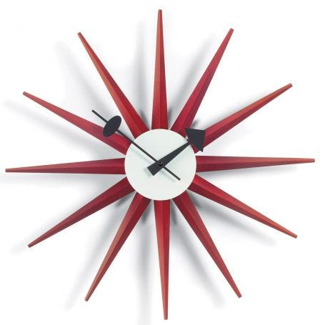 Sunburst Red Wall Clock