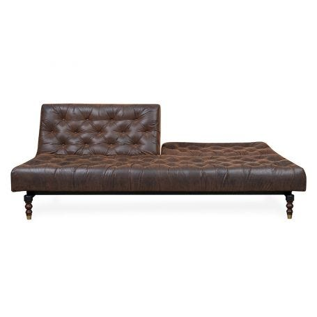 40 Winks Sofa Bed In Antique Faux Leather Brown Dark Turned Feet