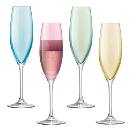 Polka Pastel Champagne Flutes Set Of 4