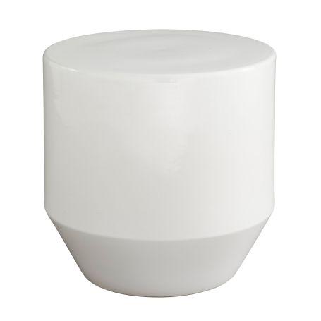 Soixante 3 Stone Enamalled White Occasional Table