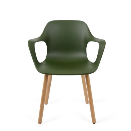 Hal Armchair in Light Oak/Ivy with Solid Oak Legs - Front View