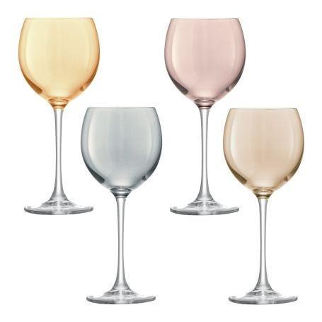 Polka Metallics Wine Glass Assorted Set Of 4