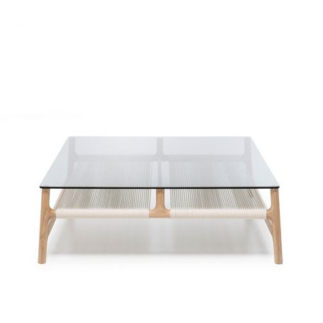 Fawn Coffee Table Oak & Grey Glass