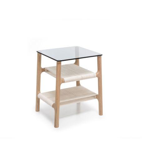 Fawn Side Table Oak & Grey Glass
