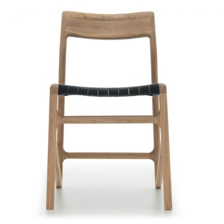 Fawn Dining Chair in Oak with Black Webbed Seat - Front View